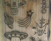 Clear Stamps, Out Of This World,  Rubber Stamps, Austronaut, UFO, Rocket, Space Ship, Far Out, Explorer, Shooting Star