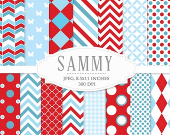 Digital papers pack - red, blue, chevron, whimsical, polka dots, stripes, scrapbooking, digital cards, invites, personal commercial use