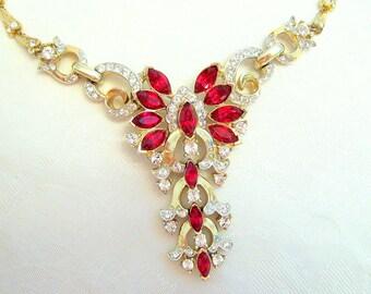 Vintage CoroCraft Necklace Choker Rhinestone Ruby Crystal Goldtone Restored