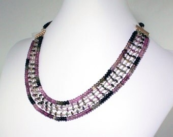 Multi Color Pink Tourmaline Necklace Multi Strand Necklace Gemstone Tourmaline Necklace Tourmaline Jewelry Adjustable NecklaceGEM-N-170-Tour