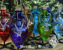 Ancient Magic Potion Bottle Vessel with Metal Stand . Your Choice . Pagan Wicca WItchcraft . Old World Magick Corked Potion Bottle