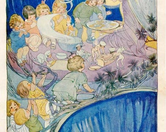 Vintage 1920's Children and Fairies Eating Fairy Bread Illustration Print w Verse by Ruth M Hallock