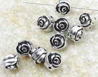 Rose Beads Antique Silver Rose Bud Beads TierraCast Pewter Flower Beads Silver Metal Beads BULK BAG (P153)
