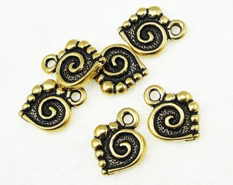 Gold Heart Charm Gold Charms TierraCast SPIRAL HEART Antique Gold Drop Tierra Cast Pewter Valentine's Charms Double Sided (P110)