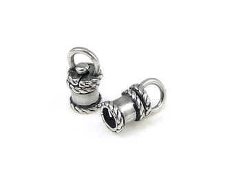 2 Swivel Cord Caps - ID 4mm Antique Silver Cord End Caps - Revolving Rotating Kumihimo End Caps Findings Supplies (KH93)