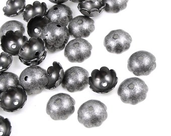 48 Dark Antique Silver Bead Caps - Plated Matte Silver Beadcaps - 8mm Smooth Dome Caps (FS177)