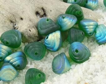 25 Green AB Shell Beads - 8mm x 7mm Czech Glass Shell Shaped Beads - Beachglass Style Seaglass Look Ocean Sea Beads