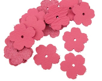 "20 Small FUCHSIA PINK Leather Flowers - TierraCast 0.75"" Rivetable Flowers - Leather Jewelry Supplies - 21-0050-07"