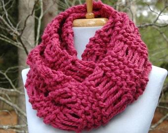 Chunky Scarf, Hand Knit Infinity Scarf, Circle Scarf, Women's Scarf, Winter Scarf, Knitted Scarf Raspberry Pink, Original Design Lambs Wool