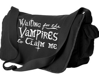 Vampire Messenger Bag - gothic laptop bag occult pastel goth creepy cute waiting for the vampires crossbody bag gothic lolita