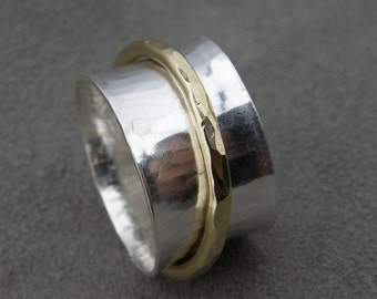Gold and Silver Spinner - Meditation Ring - Remember Ring - Two Tone