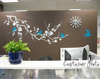 Cherry Blossom Branch Wall Decal with Birds - Vinyl Wall Stickers Art