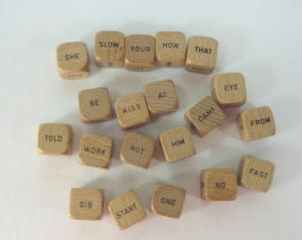 42 Word Poetry Natural Wood Word Cubes Crafts Jewelry Altered Art Mixed Media