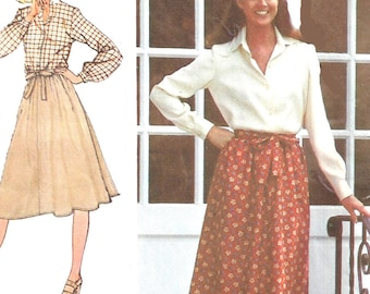 1970s Skirt Pattern Simplicity Vintage Sewing Back Wrap Skirt 1970s Learn To Sew Women's Misses Size 10 Waist 25 Inches