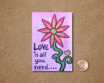 Love Is All You Need in Pink ACEO Original Watercolor Painting