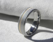 Wedding Ring, Titanium Yellow Gold Band, Frosted, Offset Inlay