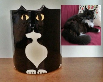 Custom Cat pottery planter: made to order ceramic pet decor HM by artist Jardiniere catnip memorial Gift Certificate unique feline keepsake