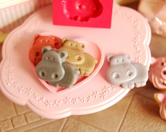 Hippopotamus Mold/Mould for using Resin, Polymer clay & Air dry Clay. Cabochon size: 1,65 cm X 1,5 cm