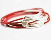 Red Leather Bangles with Heart Charm, Heart Bangles,Boho Chic Bracelets, Sundance Jewelry