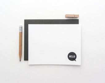 Letterpress 'Hello' Note Cards - Pack of 8, assorted envelope color