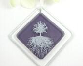 Purple Glass Suncatcher Ornament - Tree of Life Fused Glass Suncatcher