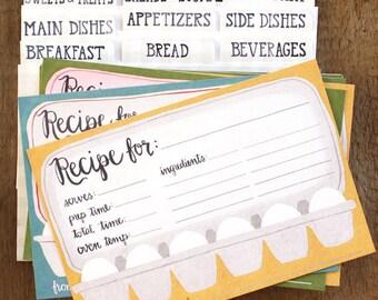 Eggs Recipe Cards Set of 54