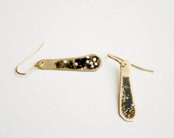 Brass enamel earrings , Gold and black, Minimalist earrings , Hand cut, organic shape