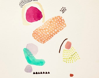 Contemporary Modern Art - an Original Abstract Painting on watercolor paper 20x 20cms, 7.8 inches