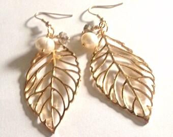 Gold leaf earrings, gold earrings, fall earrings, gold dangle earrings, pearl earrings, beaded earrings, dangle earrings