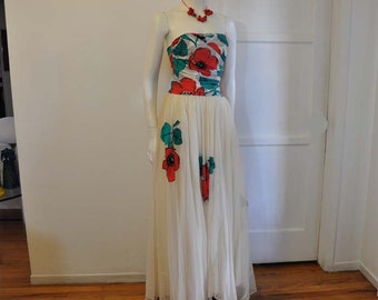 1950s dress / Strapless Vintage 50's Red Poppies Maxi Dress Gown