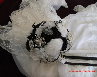 Black and White Satin and Organza Brooch Bouquet