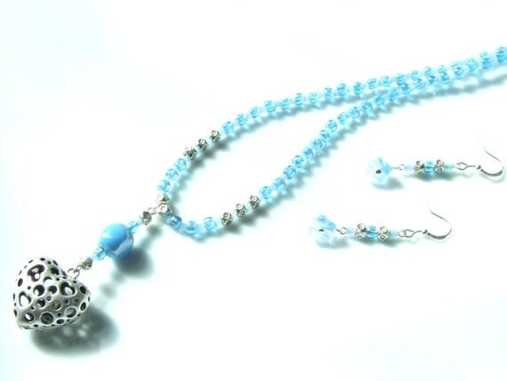 3 Piece SET - Silver Puffed Heart & Aqua Necklace, Bracelet and Earrings