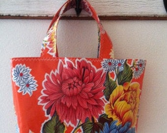 Beth's Orange Mum Small Oilcloth  Market Tote Bag