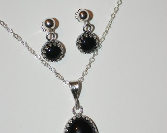Sterling Silver Black Onyx Earrings and Pendant Set