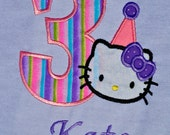 Kitty birthday shirt with name monogram
