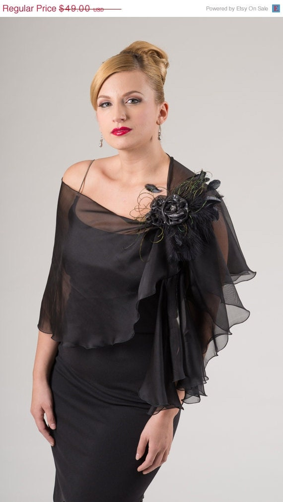 Promotional Price 100% Silk Chiffon Black Evening  Wrap- Shawl - Scarf
