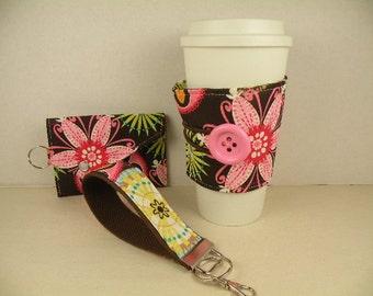 Set-- KeyChain-Key Fob/Card Holder-Change Purse/Coffee Sleeve CARNIVAL BLOOM