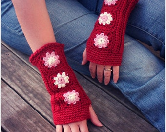 Download Now - CROCHET PATTERN - Cheery Mitts - Fingeless Gloves - Pattern PDF