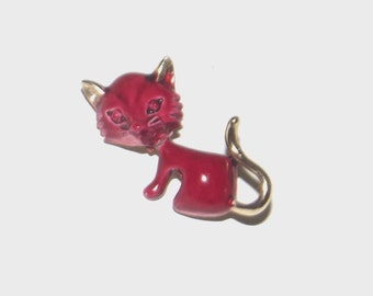 1960s vintage pin / 60s vintage brooch / enamel / Tiny Kitten Red and Gold Brooch