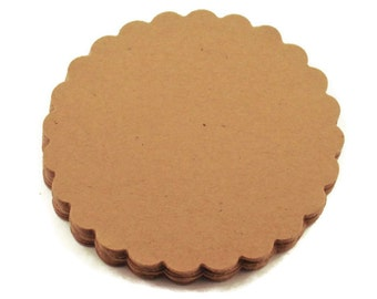 Three Inch Paper Die Cut  Scalloped Circles in Krafty Kraft Quantity 25