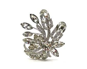 1940s Eisenberg Rhinestone Brooch Flower Design Vintage Jewelry