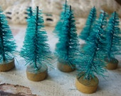 """Mini Bottle brush trees 1"""" 1/4 christmas craft supplies vintage style supplies mini trees holiday crafting christmas millinery"""