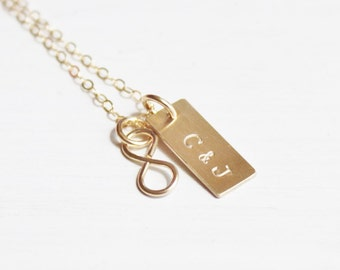 Personalized Gold Necklace, Tiny Gold Infinity Necklace, Gold Couples Necklace, Personalized Necklace, Hand Stamped Gold Necklace