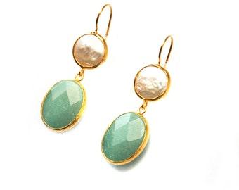 Pearl and Aventurnie Earrings