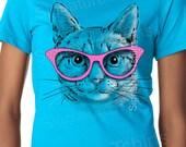Womens Cat shirt - Cat with glasses tee shirt- Womens t shirt- cat lover - birthday Gift - funny cute cat - kitten shirt - Valentines Day