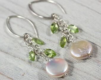Pearl and Peridot Earrings in Sterling Silver