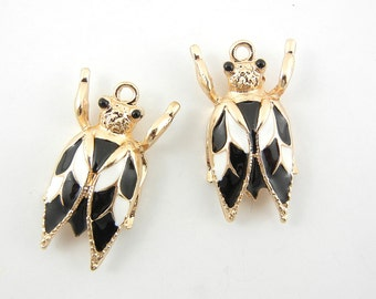Pair of Fly Insect Charms Gold-tone Black and White Epoxy
