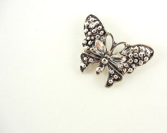 Double Link Butterfly Charm Antique Silver-tone
