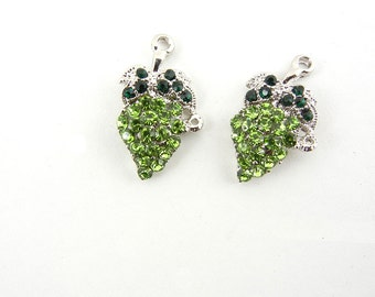 Pair of Grape Charms Green Rhinestones