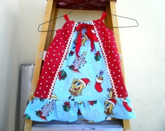 CHRISTMAS SPONGEBOB and red polka Pillowcase Dress